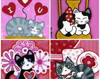 VALENTINE CATS Blank Note CARDS - Set of 4 Folk Art Designs - By Jill