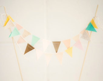 Earthy Pastel Mint Blush Buttercup Fabric Bunting Cake Topper Decoration / Vintage Circus Style