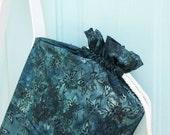 Yoga Mat Bag in dark blue batik print fabric