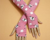 Long Thin  Armwarmers, Boho Hippie Fingerless Gloves, Happy Cows, Pink, Tattoo Covers, Ladie's Sleeves