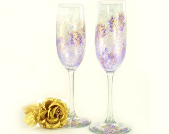 Hand Painted CRYSTAL Champagne Glasses - Lavender and Gold Roses Set of 4 - Champagne Flutes a Mariage Sparkling Wine Glasses