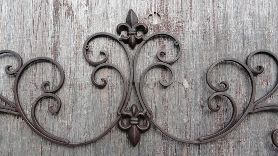 Cast Iron Wall Decor Fleur De Lis Scrolls Vine Decorative
