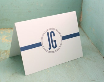 Personalized Stationery Simple Initials - Mens Custom Stationary Set Classic Folded Notecards