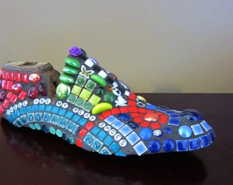 Multicolor Mosaic on Vintage Shoe Form - CuSTOM ORDER Mosaic --  birthday or any occasion gift .  TaGT turquoise blue green red