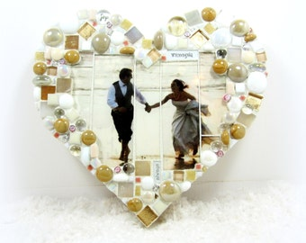 CUSTOM Wedding Picture to Family Heirloom - Photo mosaic in NEW HeART SHAPe for wedding pictures, portraits  TAGT JillsJoy