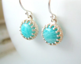 Amazonite Cabochon Dangle Earrings - Sterling Silver - Turquoise Sky Blue - Antique Crown - Post Earrings