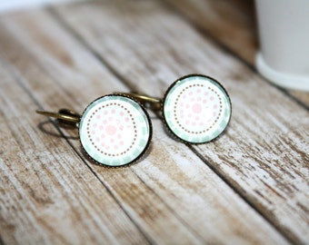 Light Pink and Baby Blue Print Earrings, Stud Earrings, Bronze Ear Posts, Bronze Leverback, Holiday Jewelry,