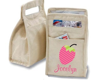 Personalized Strawberry Insulated Cotton Lunch Bag - Personalized with Any Name and You Choose the Font!