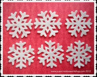 """3"""" White felt snowflakes  20ct."""