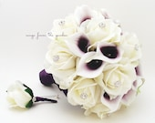 Reserved - Purple White Real Touch Bridal Bouquet Picasso Calla Lilies Roses and Rhinestones - White Plum Purple & Groom's Boutonniere