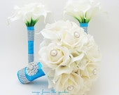 Turquoise Bridal Bridesmaids Bouquets Roses Calla Lilies Stephanotis Turquoise Blue Ribbon with Maid of Honor Bridesmaid Bouquet Real Touch