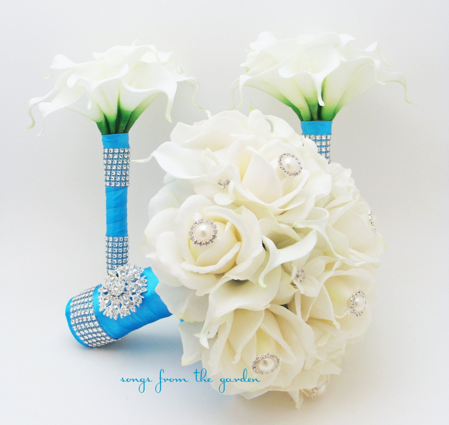 Turquoise bridal bridesmaids bouquets roses calla lilies zoom dhlflorist Gallery