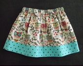 Girls Owl Print Skirt
