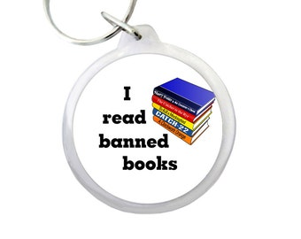 "I Read Banned Books Keyring 1.75"" Keychain with Stack of Books for Students, Librarians and Book Lovers Everywhere!"