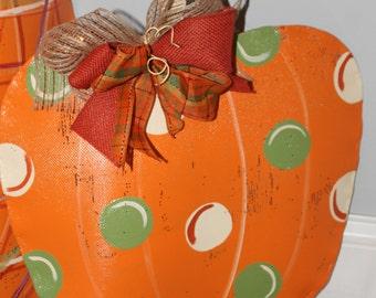 Pumpkin Door Hanger with deco mesh bow