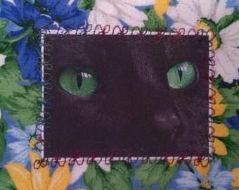 Black cat fabric post card 5