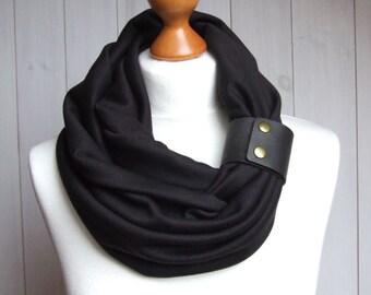 BLACK Infinity Circle Scarf Shawl Loop black scarf with leather cuff, black tube scarf