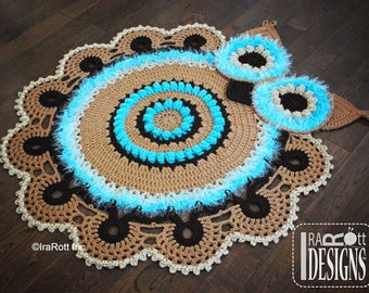 CROCHET PATTERN Retro Owl Rug or Doily Rug Nursery Mat Carpet PDF Crochet Pattern with Instant Download