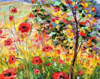 Fine art Print - Provence Poppies - from oil painting by Karen Tarlton impressionistic palette knife fine art