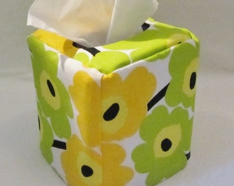 Mini Unikko tissue box cover, Marimekko fabric from Finland, available in 2 colors, housewarming/hostess gift