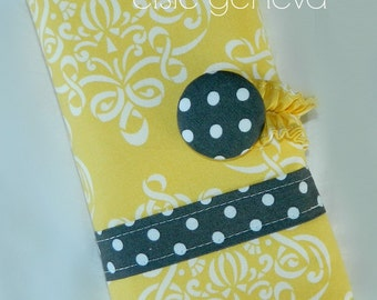 Made to Order Yellow Damask and Grey Dots Crochet Hook Case Organizer / Cosmetic