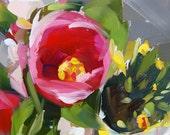 Tulips and Daffodils art print by Angela Moulton 8 x 8 inches prattcreekart