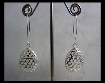 925 Sterling Silver, Teardrop Dangle Earrings, Modern Earwire, Perforated, Patterned, Medium Long Earwire, Curved Triangles, Dots, Jewelry