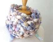 Bespoke Knit Scarf - Handspun Silk and Wool - Pastel Dream