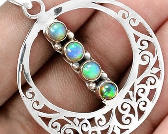 """Opal Pendant With  4 Genuine Solid Opals in Round Sterling Filigree Design Pendant on 20"""" Sterling Diamond Cut Snake Chain"""