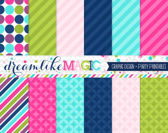 Bright Navy Bunch Digital Paper Pack for Personal or Commercial Use