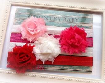 Shabby RoseBaby Headband Set, Baby headband Set, Shabby Rose Headband Set...Spring Headbands...Valentine Headbands