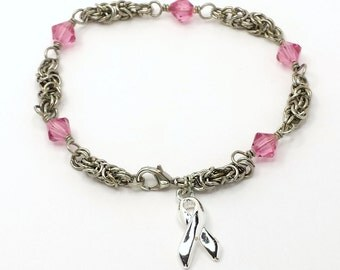 Size 7 Byzantine  Breast Cancer Awareness  Bracelet With Silver Awareness Ribbon and Swarovski Crystal Custom Made to order