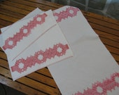 Pair Geometric Pink / Red Swedish Weaving on White Cotton Huck Cloth Towels Vintage