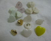 Lot of  16  Various Heart Buttons  9mm to 13mm  Plastic /  Shank and Sew Thru / Vintage