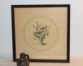 Vintage Floral Lithograph in Round Mat Board Square Framed - 17 x 17 inches