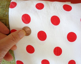 Vintage Polka Dot Red and White Sateen Type Fabric