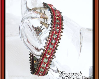 Red, Aqua, Teal & Bronze Herringbone Bracelet / Beadweaving / Nebele Ndebele / Boho Gypsy Tribal Ethnic Hippie / Casual