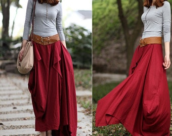 Summer Maxi skirt Long Linen Skirt In Rose Red (more colour and size choice)-NS03