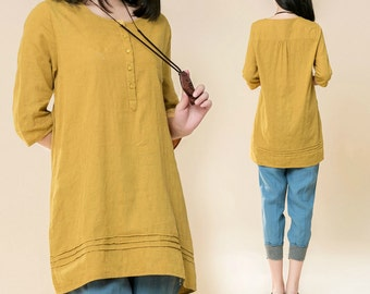 Casual Linen Blouse Half Sleeve shirt in Yellow