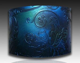 Oxidized silver, indigo and green  polymer clay cuff