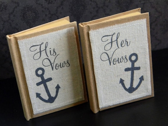 Anchor Vow Books Set of 2 Nautical Navy Beach Lake Yacht Club Wedding
