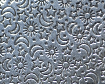 Nickel Silver Textured Metal Sheet Stars Moon and Sun Pattern 18g - 6 1/8 x 2 1/4 inches - Bracelets Pendants Metalwork