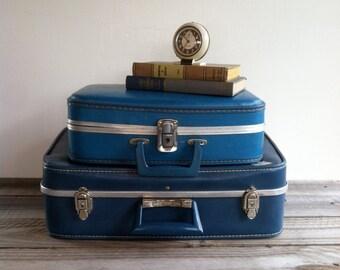 Vintage Blue Suitcase, Towncraft Luggage, Metal Clasps, Locking Suitcase, Purple Lining, Travel Sticker