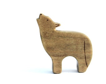 wood coyote toy, waldorf coyote toy, wooden waldorf toys, coyote figurine