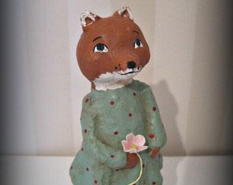 Foxy- papier mache- folk art- handmade art doll- fox doll - ooak doll