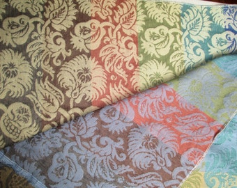 Wearbest Jacquard Weave Upholstery Fabric, Yardage, Multi-Color Damask Pattern