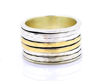 Wide spinner ring with 925 Sterling Silver & 9K 9K Gold swivel bands