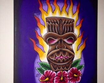 Tiki Tiki Original Stretched Canvas Painting
