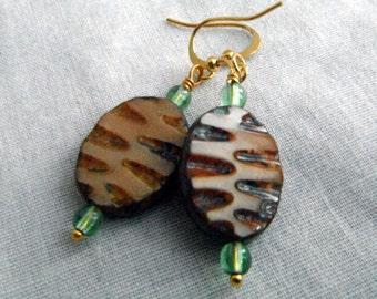 Brown and Peridot Glass Bead Earrings