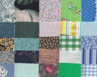 Vintage Fabric Precut 2 1/4 Inch Square Pieces 50 Cotton Prints & Feedsack Material 4 Charm Quilting Sewing Projects Variety Number B - 22